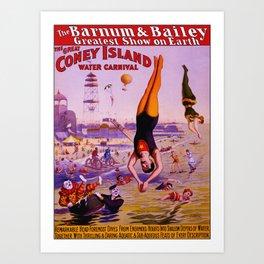 Vintage Coney Island Water Carnival Art Print