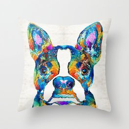 Colorful Boston Terrier Dog Pop Art - Sharon Cummings Throw Pillow