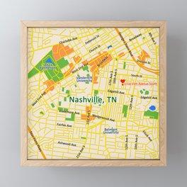 Map of Nashville, TN Framed Mini Art Print