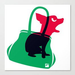 Angry animals: chihuahua - little green bag Canvas Print