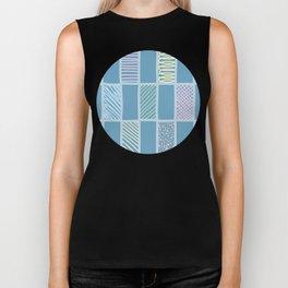 Vector doodle grid repeat pattern in pastel colors Biker Tank