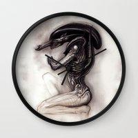 xenomorph Wall Clocks featuring ALIEN - Xenomorph by Denda Reloaded