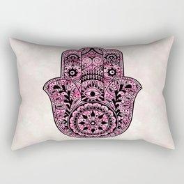 Watercolor Black  Pink Hamsa Hand Rectangular Pillow