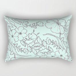 Dotted Floral Scroll in Mint and Grey Rectangular Pillow
