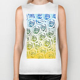 rose pattern texture abstract background in blue and yellow Biker Tank