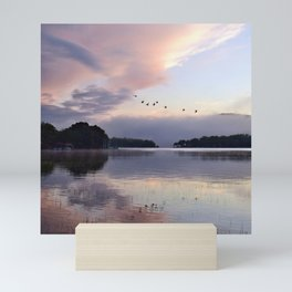Uplifting: Geese Rise at Dawn on Lake George Mini Art Print