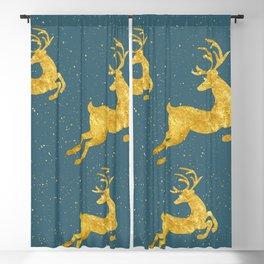 Golden Reindeer Teal Blackout Curtain