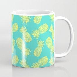 Pineapple Pattern - Turquoise & Lemon Coffee Mug