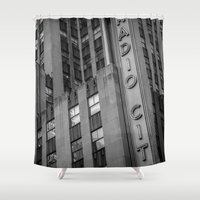 radio Shower Curtains featuring Radio City by MikeMartelli