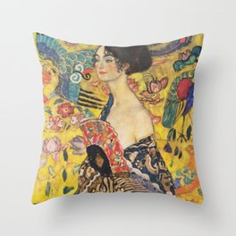 Gustav Klimt Lady With Fan  Art Nouveau Painting Throw Pillow