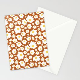 Field of Daisies in Earth Brown Stationery Cards
