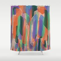 arya Shower Curtains featuring summer scribbles 2 by Agnes Bak