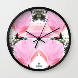 Pink Petal Shapes Wall Clock