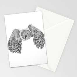 Flying Great Grey Owl Stationery Cards