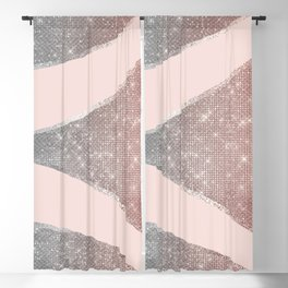 Glamorous Sparkly Silver Rose Gold Glitter Geo Blackout Curtain