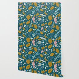 Fall Folige in Blue and Gold Wallpaper
