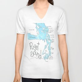 Puget Sound by Seattle Artist Mary Klump Unisex V-Neck