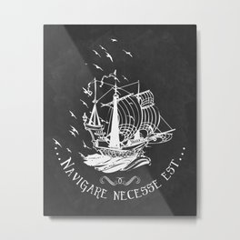 Latin quote print, nautical ship design Metal Print