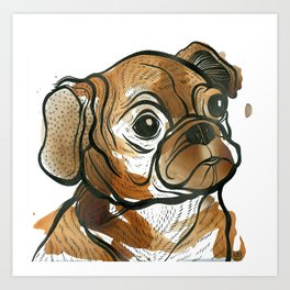 Tea Pug Puppy Art Print