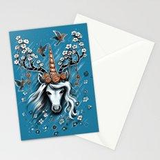 Deer Unicorn Flowers Stationery Cards