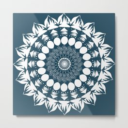 Navy Blue Mandala Metal Print