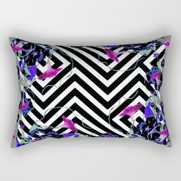Geometric  black-White Morning Glories Grey Pattern Garden  Art Rectangular Pillow