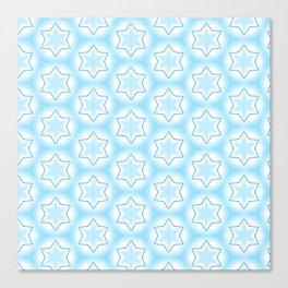 Shiny light blue winter star snowflakes pattern Canvas Print