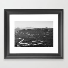 River in the Mountains B&W Framed Art Print