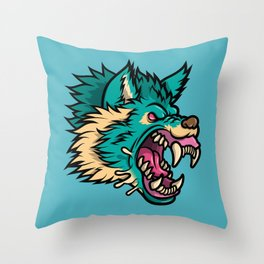 Cold Harsh Wolf Throw Pillow