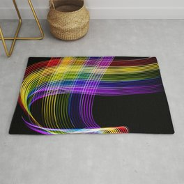 Abstract lines in the colors of the rainbow on black background. Rug