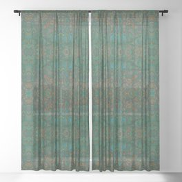 Copper Green Verdigris Abstract Watercolor Sheer Curtain