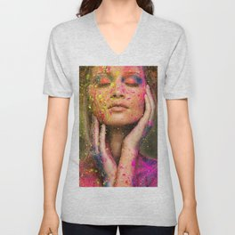 Young woman muse with creative body art and hairdo (10) Unisex V-Neck