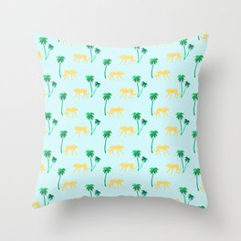 Animal Print Yellow Cheetah under Green Palm Trees on Muted Blue Background Throw Pillow