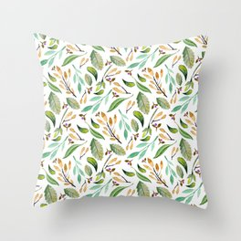Botanical hand painted watercolor forest green brown foliage Throw Pillow