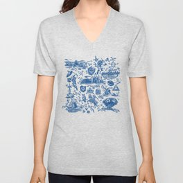 "Zelda ""Hero of Time"" Toile Pattern - Zora's Sapphire Unisex V-Neck"