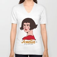 amelie V-neck T-shirts featuring Amelie Print 3 by Saffa Khan