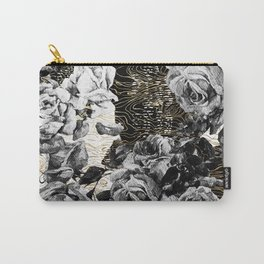 Dark abstract bloom over golden lines Carry-All Pouch