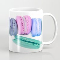 macaroons Mugs featuring Macaroons  Pink Aqua Periwinkle by Whimsy Romance & Fun
