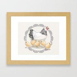 Mother Hen and Her Chicks in Crochet Wreath Framed Art Print