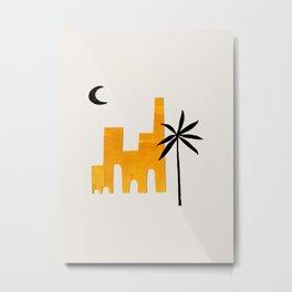 Minimalist Minimal Mid Century Abstract Middle Eastern Ancient Ruins Palm Tree Moon Ejaaz Haniff Metal Print