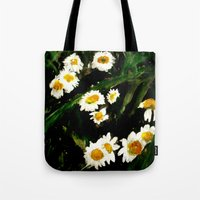 daisies Tote Bags featuring Daisies by James Peart