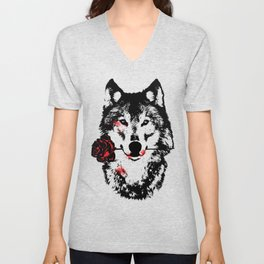 Wolf blood stained, holding a red rose. Unisex V-Neck