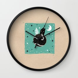 A tree, a house, the moon and a planet Wall Clock