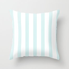 Striped I - Turquoise stripes on white - Beautiful summer pattern Throw Pillow