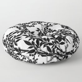 Toile Black and White Tangled Branches and Leaves Floor Pillow