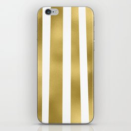 Gold unequal stripes on clear white - vertical pattern iPhone Skin