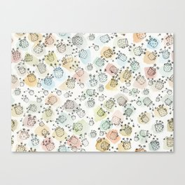 Vintage polka dot cups and flowers Canvas Print