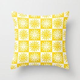 Mid Century Modern Sun Pattern Yellow Throw Pillow