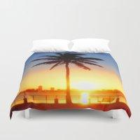 miami Duvet Covers featuring Miami Sunrise by JT Digital Art