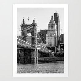 Cincinnati Skyscrapers and Roebling Bridge - Black and White Art Print